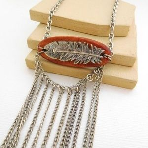Jewelry - Boho Silver Feather Wood Fringe Statement Necklace